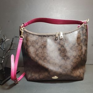 COACH  Large Brown/Fuschia Purse with Double  Stra